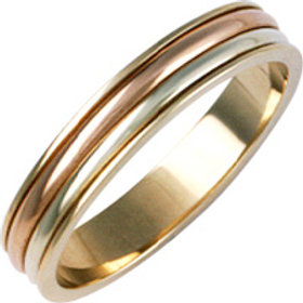 9ct Gold Tri Colour Wedding Ring -  9ct Yellow with Rose & White Gold  - Gents