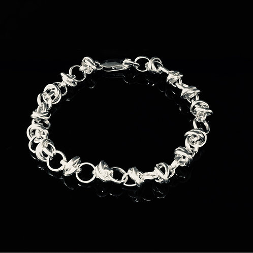 Tumbled Wrapped Link Bracelet - Sterling Silver