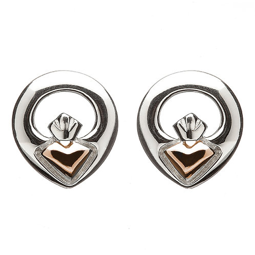 House of Lor Claddagh Stud Earrings, Silver with Heart of Irish Gold
