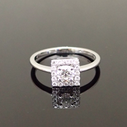0.50cts Diamond Halo Cluster Ring  - 18ct White Gold