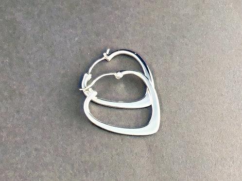 Heart Hoop Earrings - Sterling Silver