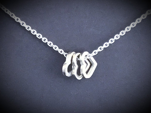 Silver Eternity Heart Cluster Necklace -Chris Lewis