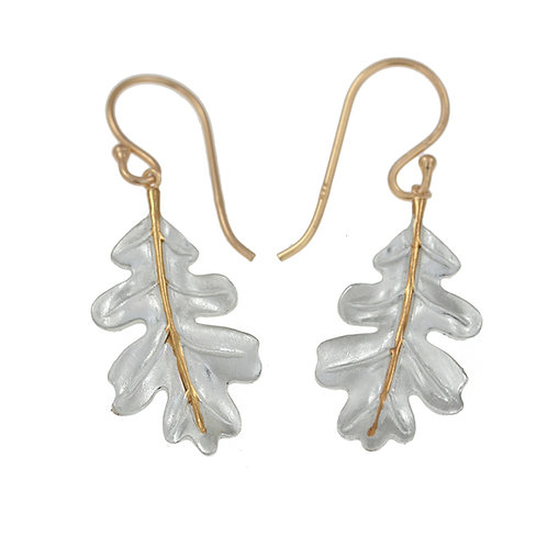 Oak Leaf Silver and Gold Earrings - Sterling Silver
