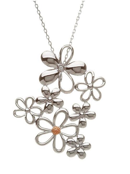 Diamond set Sterling Silver & Rose gold cluster Petal pendant