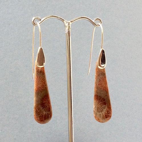 Coral Drop Earrings -Sterling SIlver