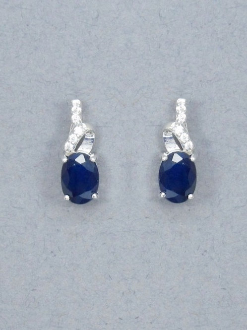 Sapphire & CZ Earrings - Sterling Silver