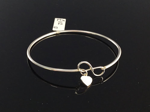 Infinity Heart Silver Bangle - Sterling Silver