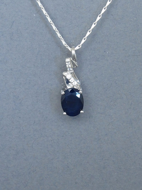 Sapphire & CZ Necklace- Sterling Silver