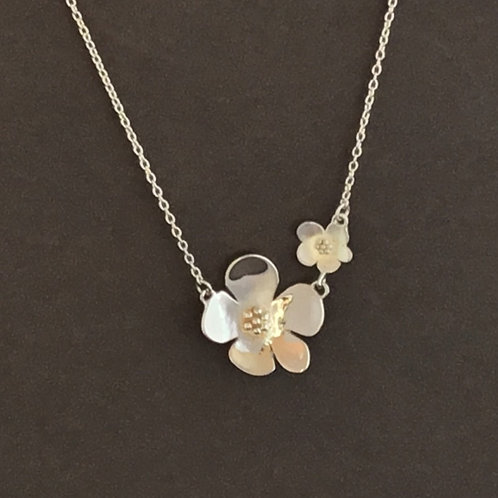 Double Flower Necklace   - Sterling Silver