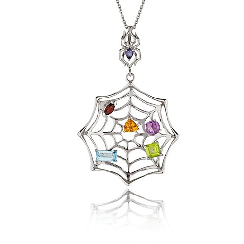Iolite Spider and Multi Stone Web - Rhodium Plated Sterling Silver