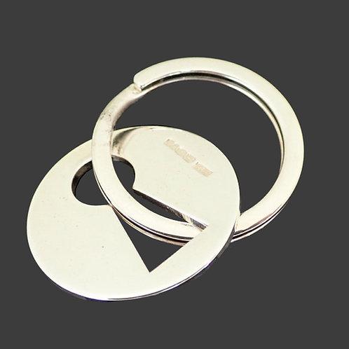 Keyhole Key Fob / Key Ring - Sterling Silver