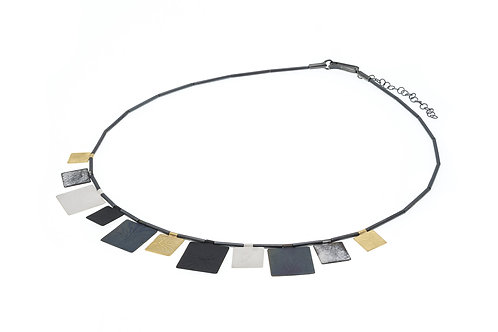 Deco Echo Square Link  Collar Necklace - Sterling Silver