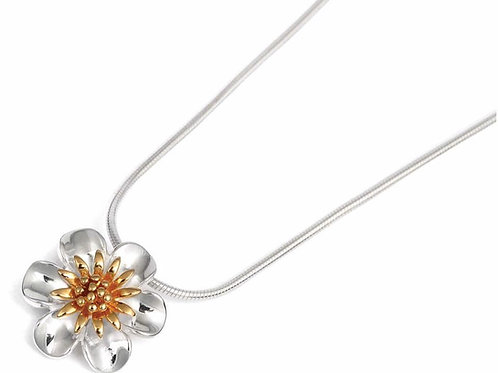 Sterling Silver & Gold Flower Pendant with Chain by Robert Adams