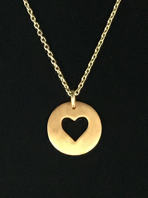 Rose Gold Heart Necklace - Plated Sterling Silver