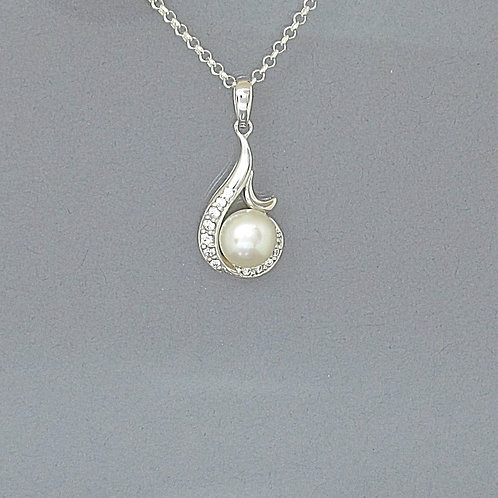 White Freshwater Pearl Sterling Silver Necklace