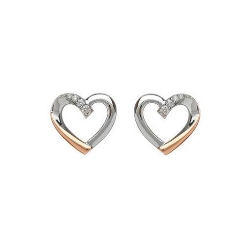 House of Lor Irish Gold Heart Earrings  - Sterling Silver, Irish Gold an