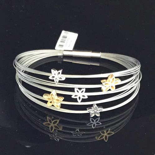 Glanzpunkt Flowers Bracelet - Silver, Yellow Gold Plate and Steel Band