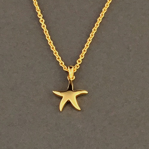 Starfish Pendant Necklace - Sterling Silver with gold plate