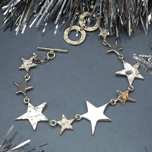 Textured Nine Star Bracelet - Sterling Silver