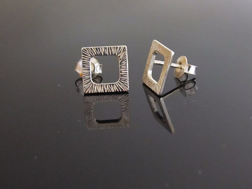 sterling silver square 'window' earring studs
