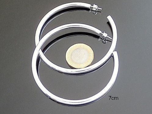 7cm Silver Hoop Earrings - Sterling Silver