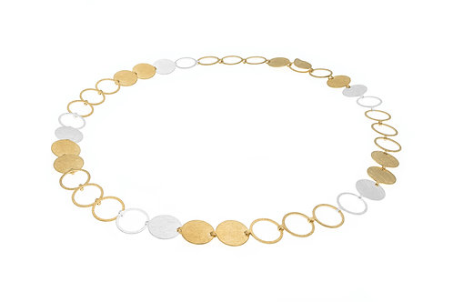 Deco Echo Disc and Circle Collar Necklace - Sterling Silver