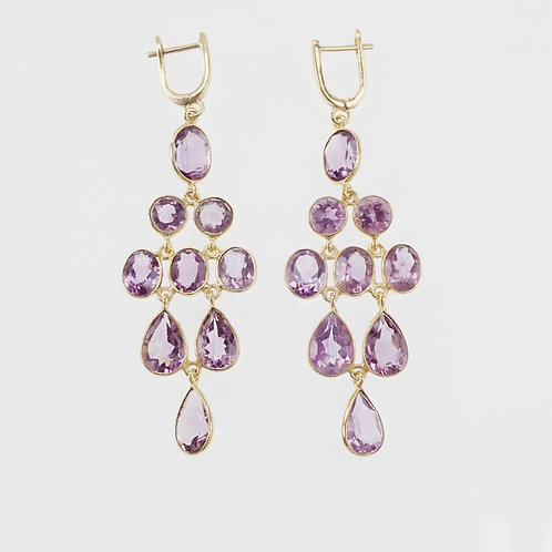 Amethyst Earrings - Yellow Gold Plate on Sterling Silver