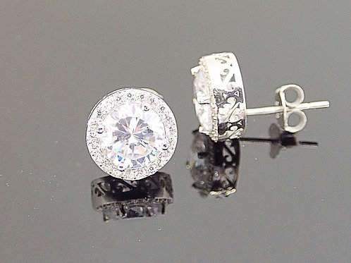 Sterling Silver & Cubic Zirconia Stud Earrings