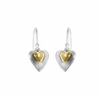 Double Heart Earrings - Silver with Gold Plate