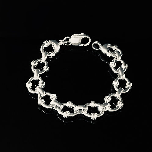 Oval Wrapped Link Bracelet -Sterling Silver
