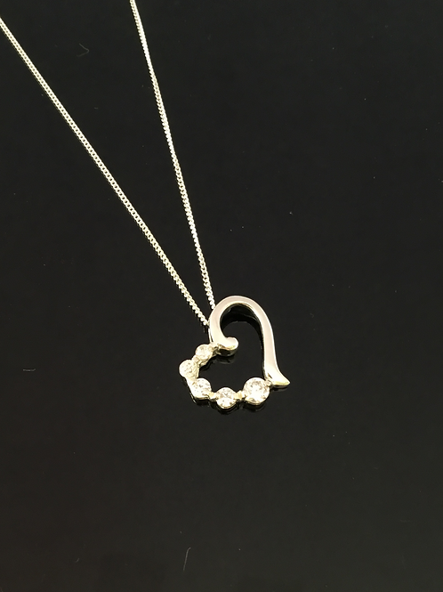 Valentine heart love necklace cz's sterling silver gift present