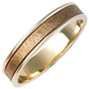 18ct Two Colour Wedding Ring - With 18ct Rose Gold Inlay - Gents