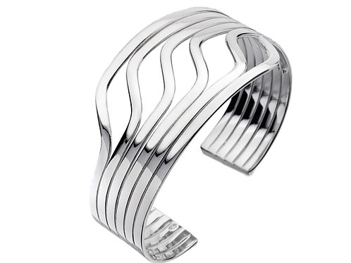 Silver Torque Bangle - Sterling Silver
