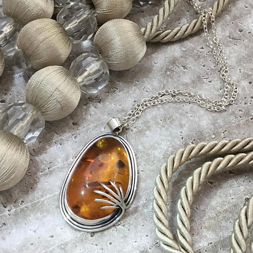 Amber Pendant Necklace - Sterling Silver
