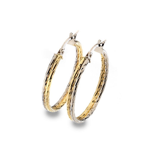 Gold Bi Colour Hoop Earrings - 9ct Yellow & White Gold