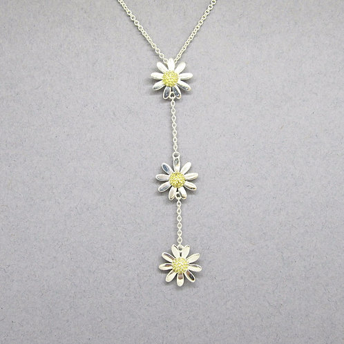 Daisy Drop Necklace - Sterling Silver