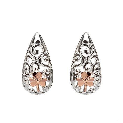 House of Lor Celtic Stud Earrings with Irish Rose Gold Shamrock