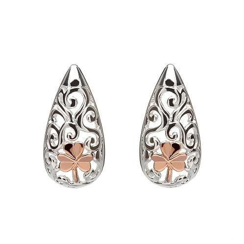 House of Lor Celtic Stud Earrings with Irish Rose Gold Shamrock