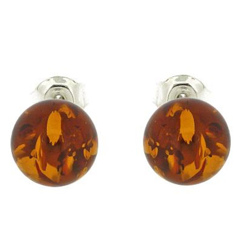 Sterling Silver & Amber Stud Earrings in Cognac Colour
