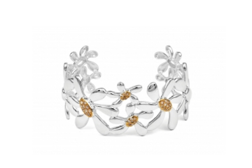 Daisy Cuff - sterling silver,  Gold plated flowers with cz's