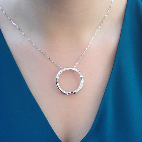 Silver Hoop Necklace with Open Curve - Sterling Silver