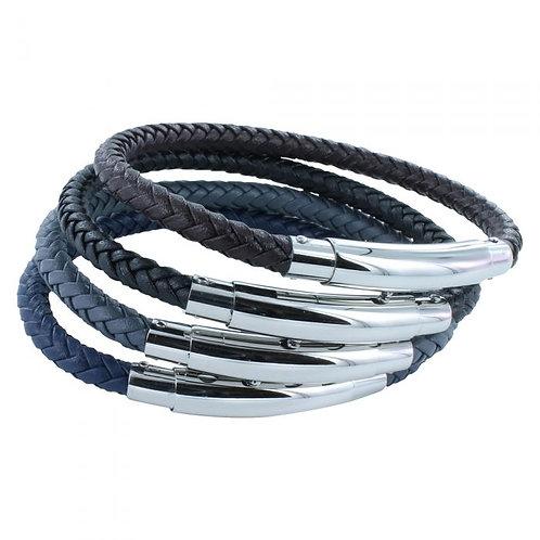 Extendable Leather Bracelet - Black/Navy