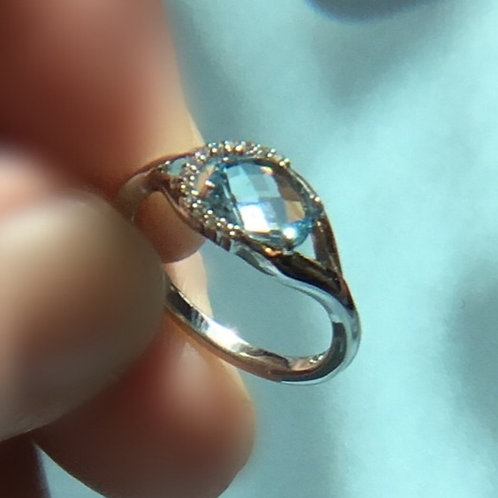 Cushion Cut Topaz with Cubic Zirconia Halo Ring - Sterling silver