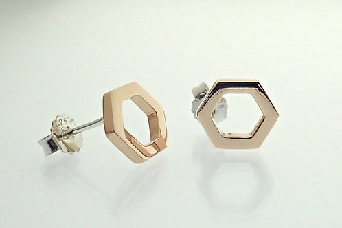 Rose Gold Open Hexagon Stud Earrings - Sterling Silver with Rose Gold Plate