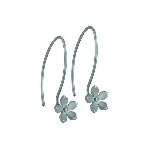 Ti2 Titanium Flower Drop Earrings in Aqua Blue
