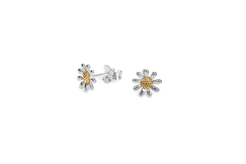 Daisy Earrings 8mm - Sterling Silver with Gold Vermeil Centre