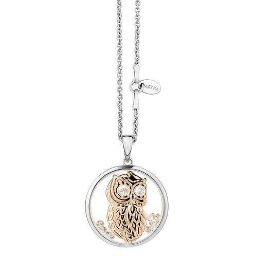 ASTRA WISE OWL, MAYA COLLECTION, FAITH THEME, ROSE GOLD, NECKLACE