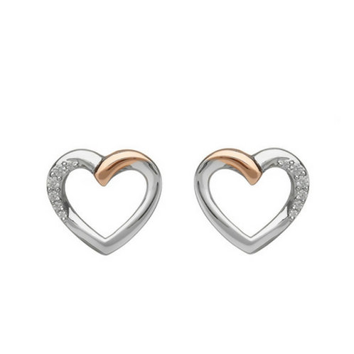 House of Lor Irish Gold Heart Earrings  - Sterling Silver, Irish Gold and cz