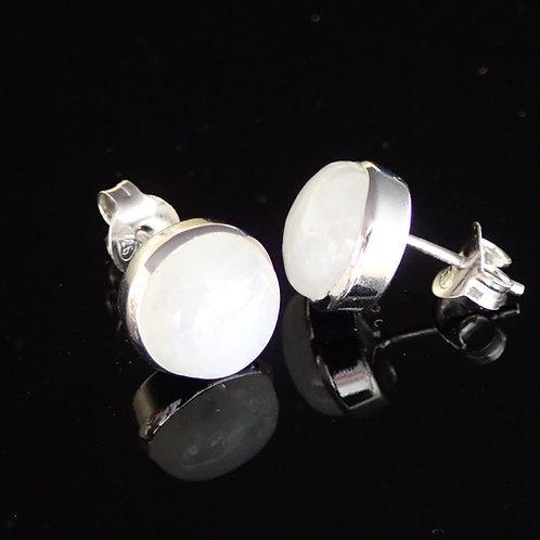 Moonstone Stud Earrings - Sterling Silver