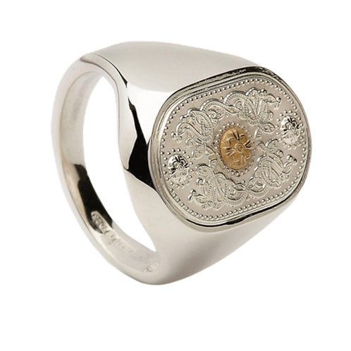 House of Lor Gents Signet Ring  - Silver and Irish Gold
